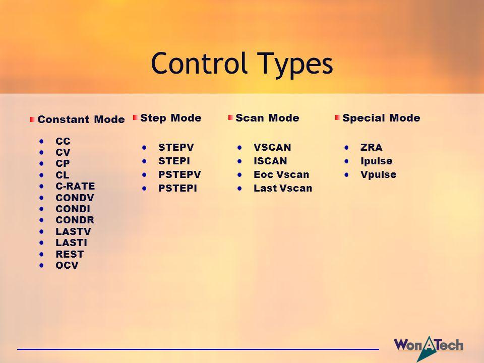 Constant Mode CC CV CP CL C-RATE CONDV CONDI CONDR LASTV LASTI REST OCV Control Types Step Mode STEPV STEPI PSTEPV PSTEPI Scan Mode VSCAN ISCAN Eoc Vs