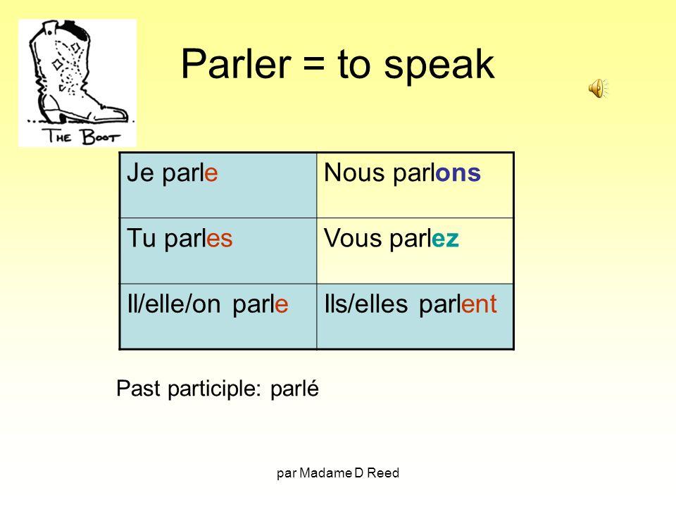 par Madame D Reed Parler = to speak Je parleNous parlons Tu parlesVous parlez Il/elle/on parleIls/elles parlent Past participle: parlé