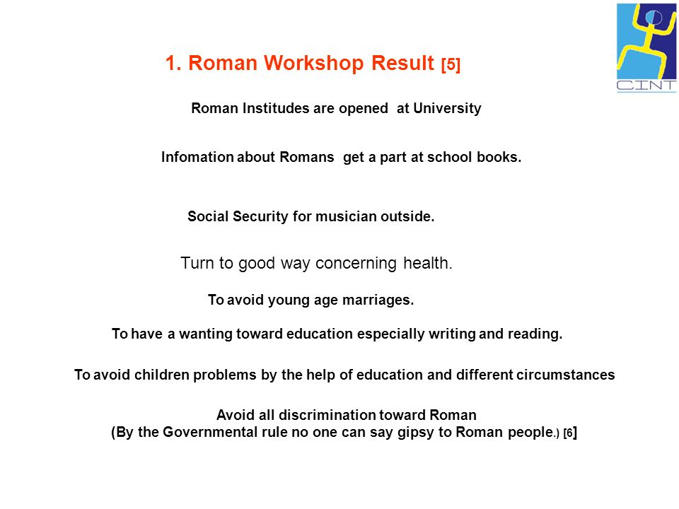 1. Roman Workshop Result [5] Roman Institudes are opened at University Infomation about Romans get a part at school books. Social Security for musicia