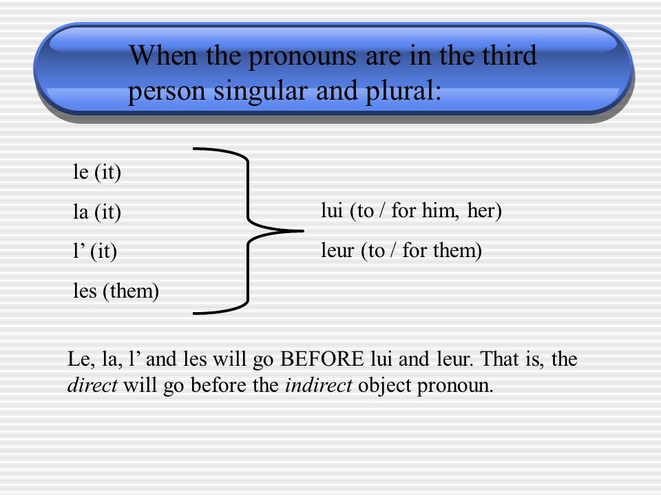 When the pronouns are in the third person singular and plural: le (it) la (it) l (it) les (them) lui (to / for him, her) leur (to / for them) Le, la,