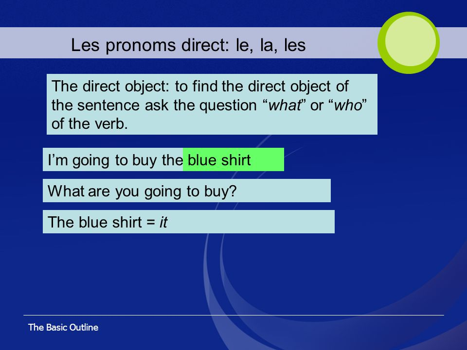 The Basic Outline Les pronoms direct: le, la, les The direct object: to find the direct object of the sentence ask the question what or who of the ver
