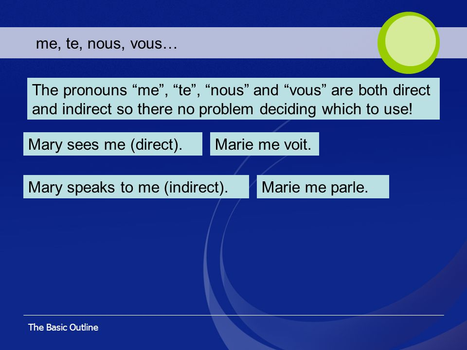 The Basic Outline me, te, nous, vous… The pronouns me, te, nous and vous are both direct and indirect so there no problem deciding which to use! Mary