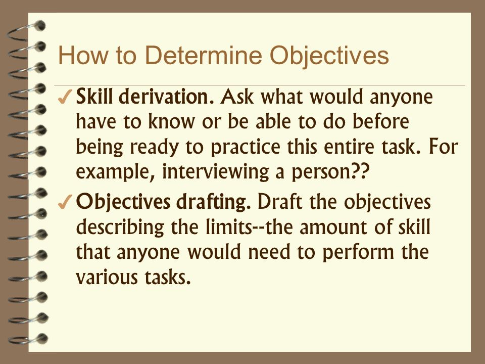 How to Determine Objectives Skill derivation. Ask what would anyone have to know or be able to do before being ready to practice this entire task. For