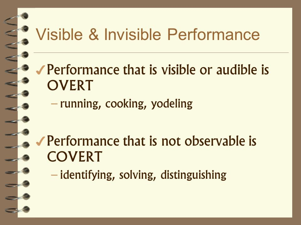Visible & Invisible Performance Performance that is visible or audible is OVERT – running, cooking, yodeling Performance that is not observable is COV