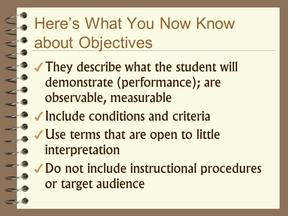 Heres What You Now Know about Objectives They describe what the student will demonstrate (performance); are observable, measurable Include conditions
