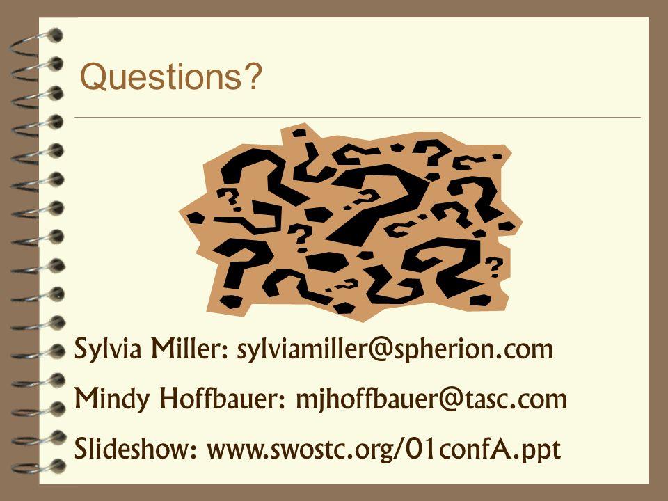 Questions? Sylvia Miller: sylviamiller@spherion.com Mindy Hoffbauer: mjhoffbauer@tasc.com Slideshow: www.swostc.org/01confA.ppt