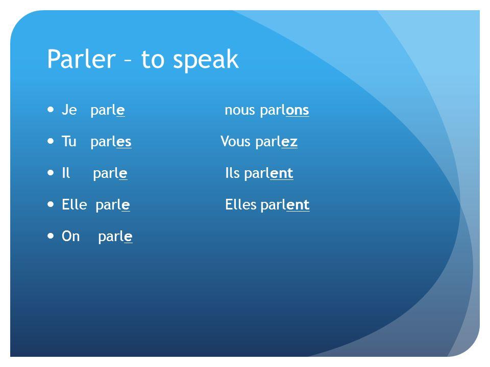 Parler – to speak Je parle nous parlons Tu parles Vous parlez Il parle Ils parlent Elleparle Elles parlent On parle