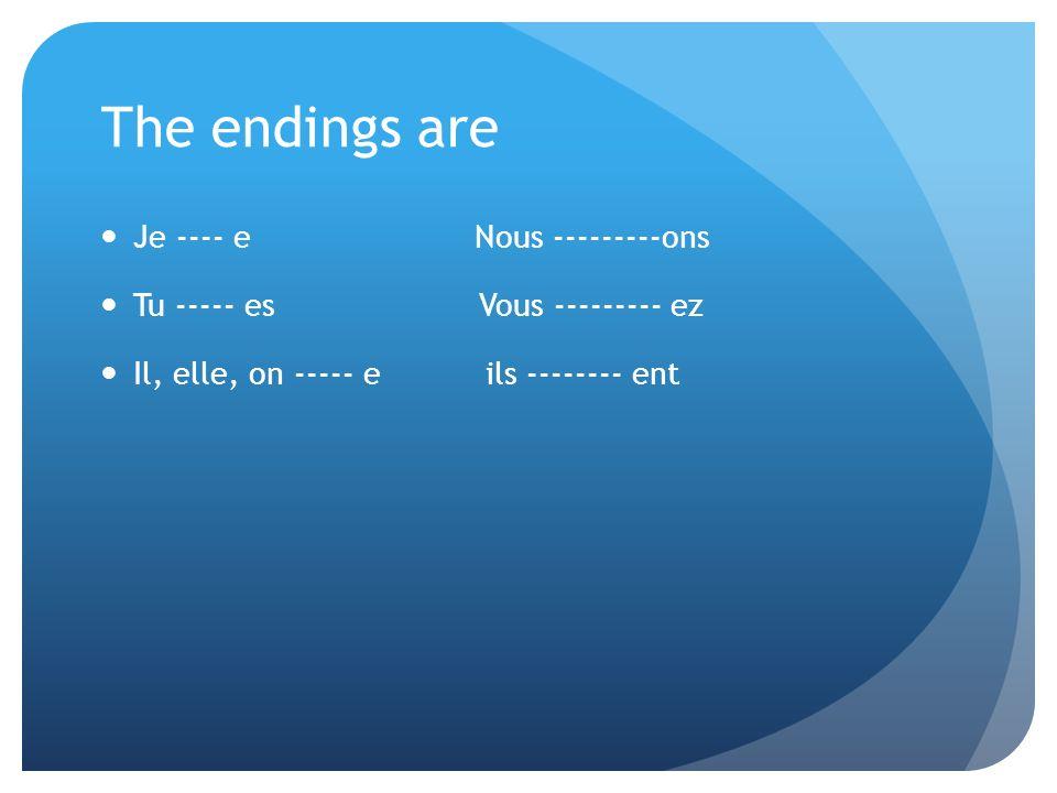 The endings are Je ---- e Nous ---------ons Tu ----- es Vous --------- ez Il, elle, on ----- e ils -------- ent