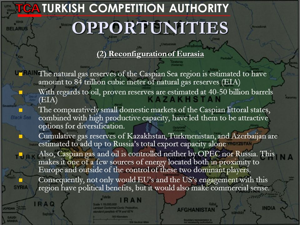 OPPORTUNITIES (2) Reconfiguration of Eurasia The natural gas reserves of the Caspian Sea region is estimated to have amount to 84 trillion cubic meter