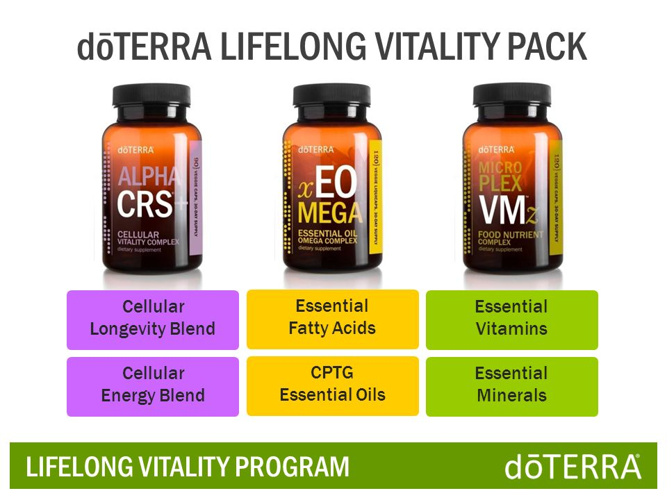 LIFELONG VITALITY PROGRAM Cellular Energy Blend dōTERRA LIFELONG VITALITY PACK Cellular Longevity Blend Essential Minerals Essential Vitamins CPTG Ess