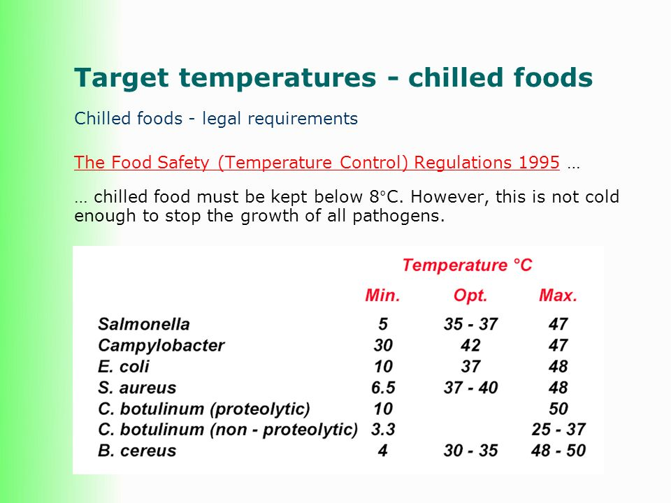 Target temperatures - chilled foods Chilled foods - legal requirements The Food Safety (Temperature Control) Regulations 1995The Food Safety (Temperature Control) Regulations 1995 … … chilled food must be kept below 8°C.