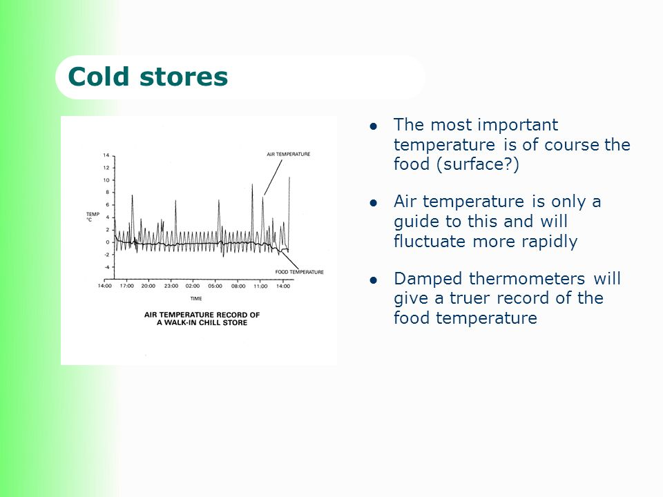 Cold stores The most important temperature is of course the food (surface?) Air temperature is only a guide to this and will fluctuate more rapidly Damped thermometers will give a truer record of the food temperature