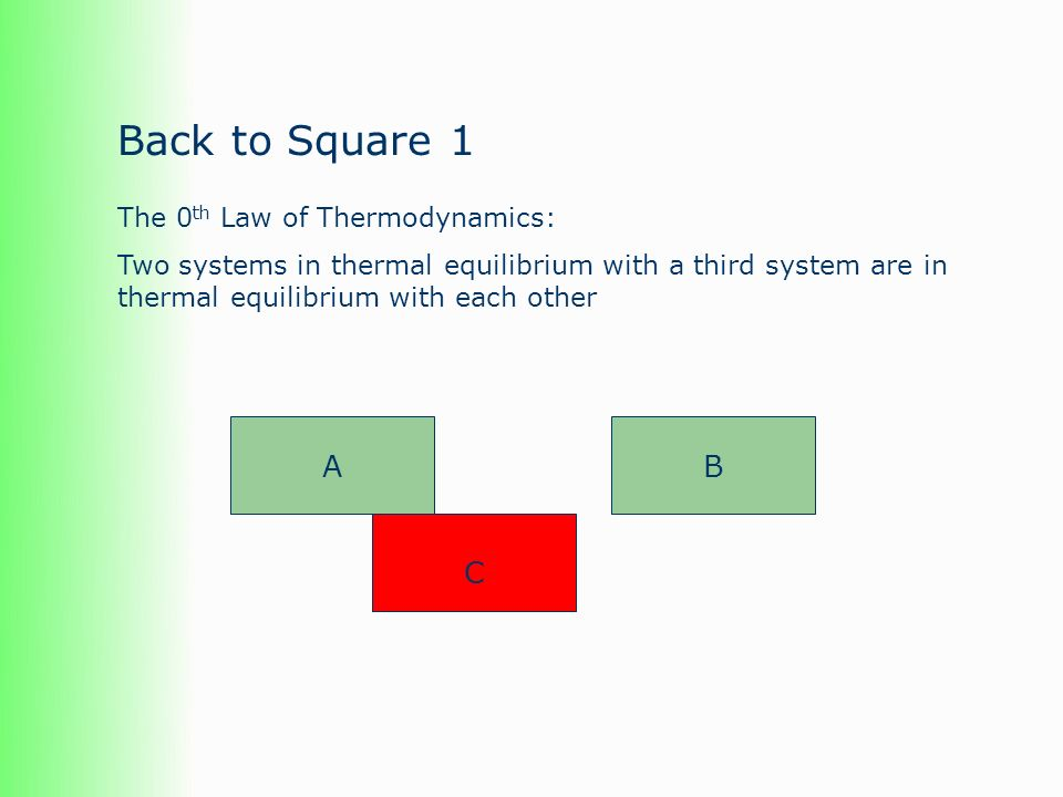 Back to Square 1 The 0 th Law of Thermodynamics: Two systems in thermal equilibrium with a third system are in thermal equilibrium with each other A C B
