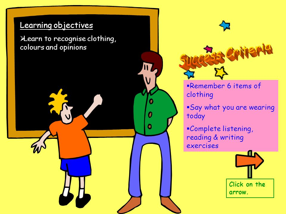 Learning objectives Learn to recognise clothing, colours and opinions Remember 6 items of clothing Say what you are wearing today Complete listening,