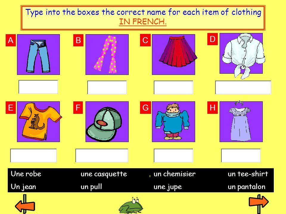 AB C F E D GH Une robe une casquetteun chemisier un tee-shirt Un jean un pullune jupe un pantalon Type into the boxes the correct name for each item o