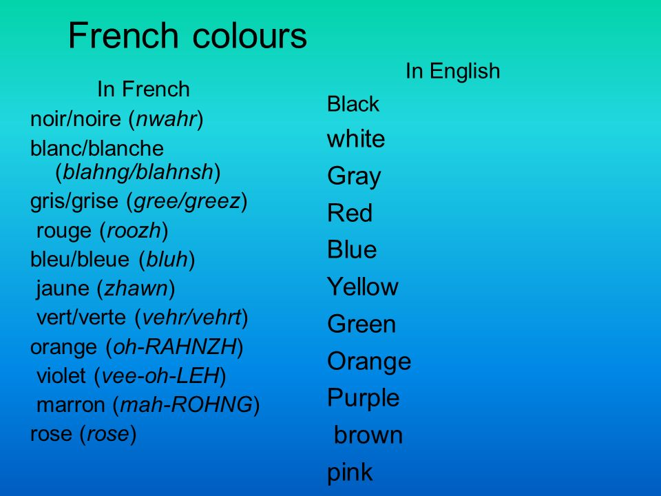 French colours In French noir/noire (nwahr) blanc/blanche (blahng/blahnsh) gris/grise (gree/greez) rouge (roozh) bleu/bleue (bluh) jaune (zhawn) vert/verte (vehr/vehrt) orange (oh-RAHNZH) violet (vee-oh-LEH) marron (mah-ROHNG) rose (rose) In English Black white Gray Red Blue Yellow Green Orange Purple brown pink