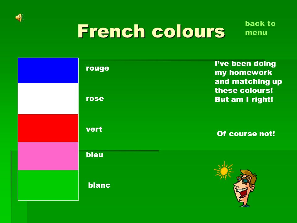 French colours Ive been doing my homework and matching up these colours! But am I right! rouge rose vert bleu blanc Of course not! back to menu