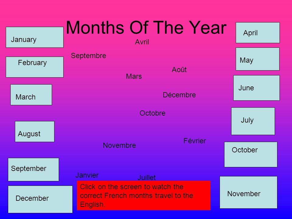 Months Of The Year Janvier Février Mars Avril Mai Juin Juillet Août Septembre Octobre Novembre Décembre January February March April May June July August September October November December Click on the screen to watch the correct French months travel to the English.
