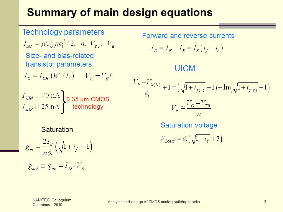 NAMITEC Colloquium Campinas - 2010 Analysis and design of CMOS analog building blocks3 Summary of main design equations Saturation Technology paramete