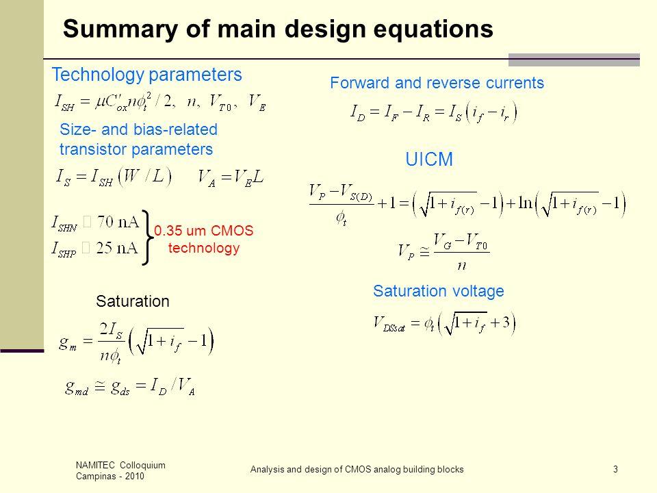 NAMITEC Colloquium Campinas - 2010 Analysis and design of CMOS analog building blocks14 A SELF-BIASED CURRENT SOURCE – 1 Applying UICM to both M1 & M2 Sat.