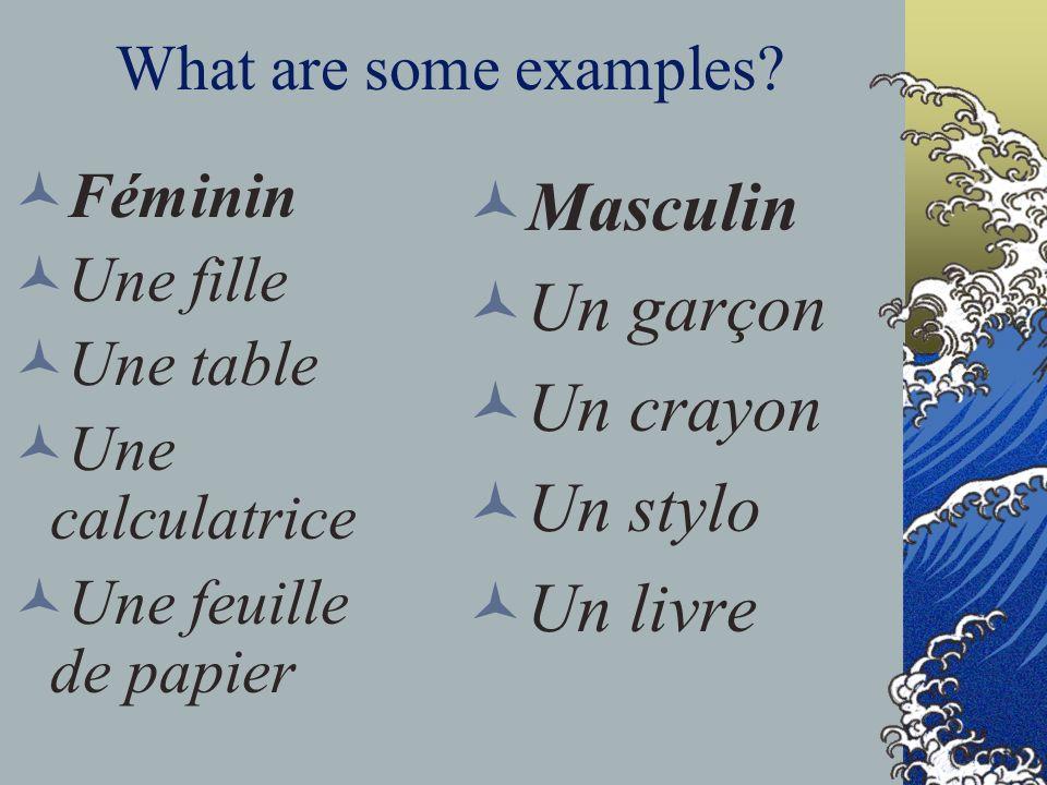 What are some examples? Féminin Une fille Une table Une calculatrice Une feuille de papier Masculin Un garçon Un crayon Un stylo Un livre