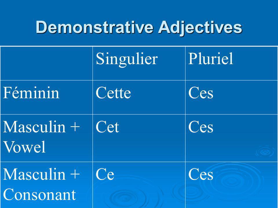 Demonstrative Adjectives SingulierPluriel FémininCetteCes Masculin + Vowel CetCes Masculin + Consonant CeCes