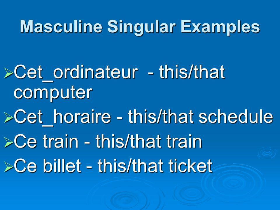 Masculine Singular Examples Cet_ordinateur - this/that computer Cet_ordinateur - this/that computer Cet_horaire - this/that schedule Cet_horaire - thi