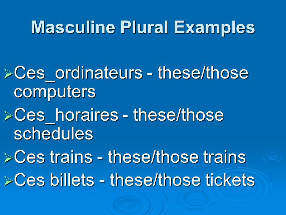 Masculine Plural Examples Ces_ordinateurs - these/those computers Ces_ordinateurs - these/those computers Ces_horaires - these/those schedules Ces_hor