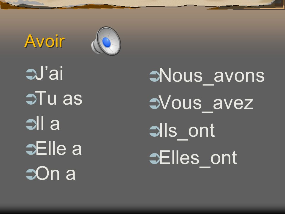 About Avoir It is an irregular verb like être. The conjugations do not follow the same pattern as other verbs. Avoir is also used as a helping verb in