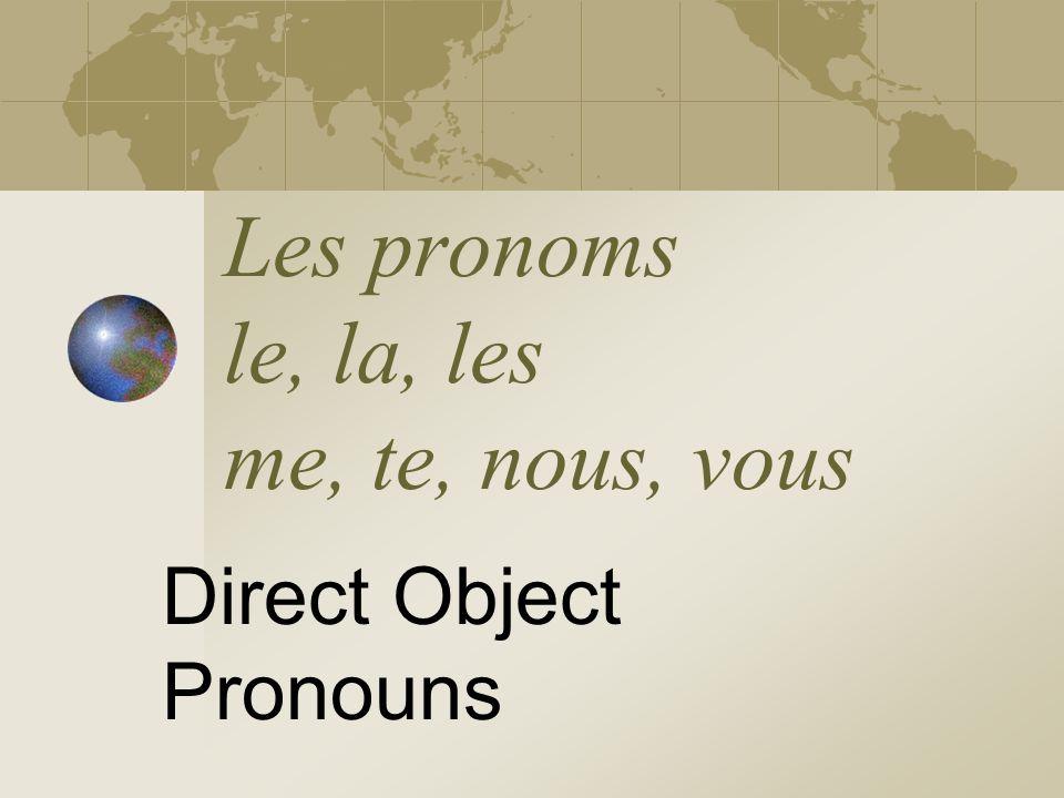 Les pronoms le, la, les me, te, nous, vous Direct Object Pronouns