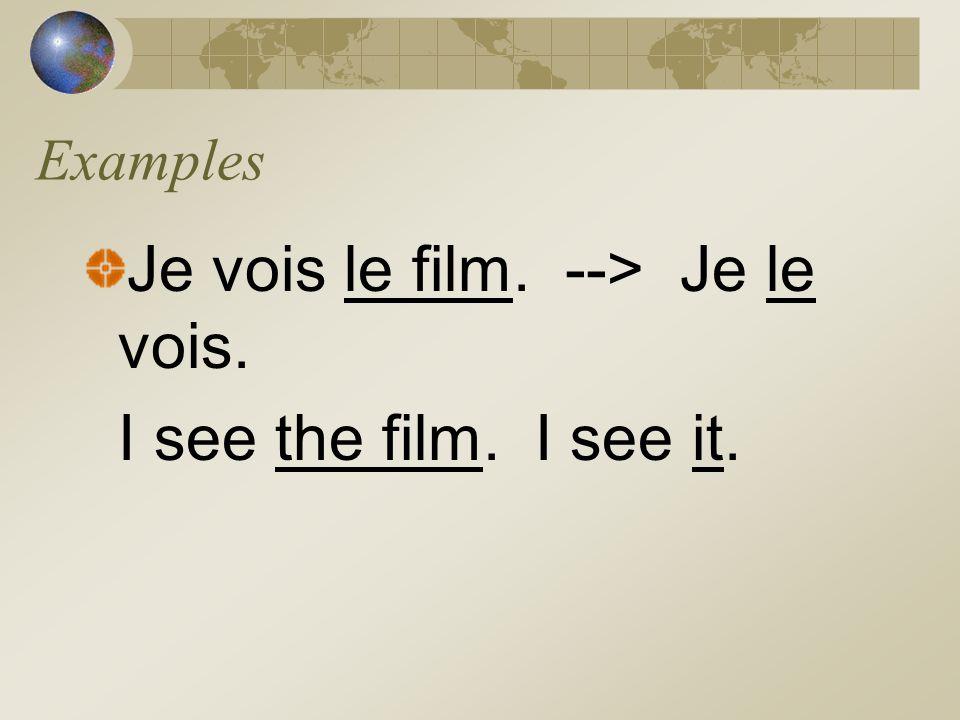 D.O. Pronouns Le - it, him (masculine object or male) La - it, her (feminine object or female) Les - them (masculine or feminine objects or people) **