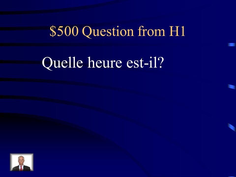 $400 Answer from H1 Il fait mauvais. Il pleut.