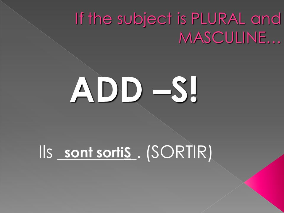If the subject is PLURAL and MASCULINE… ADD –S! Ils _________. (SORTIR) sont sortiS