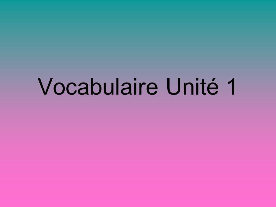 Vocabulaire Unité 1