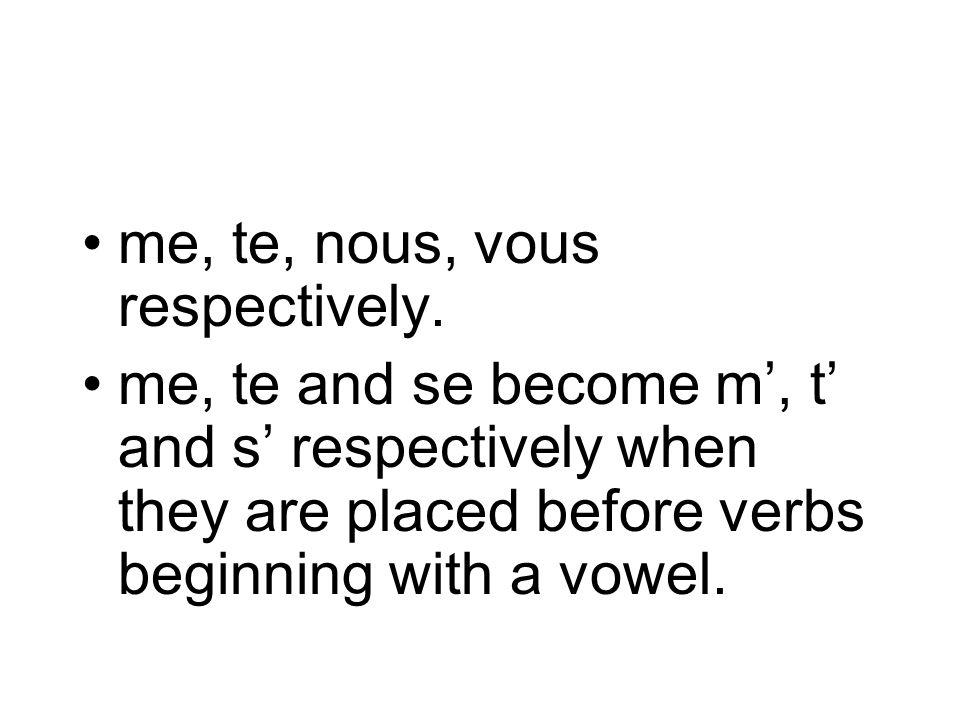 me, te, nous, vous respectively.