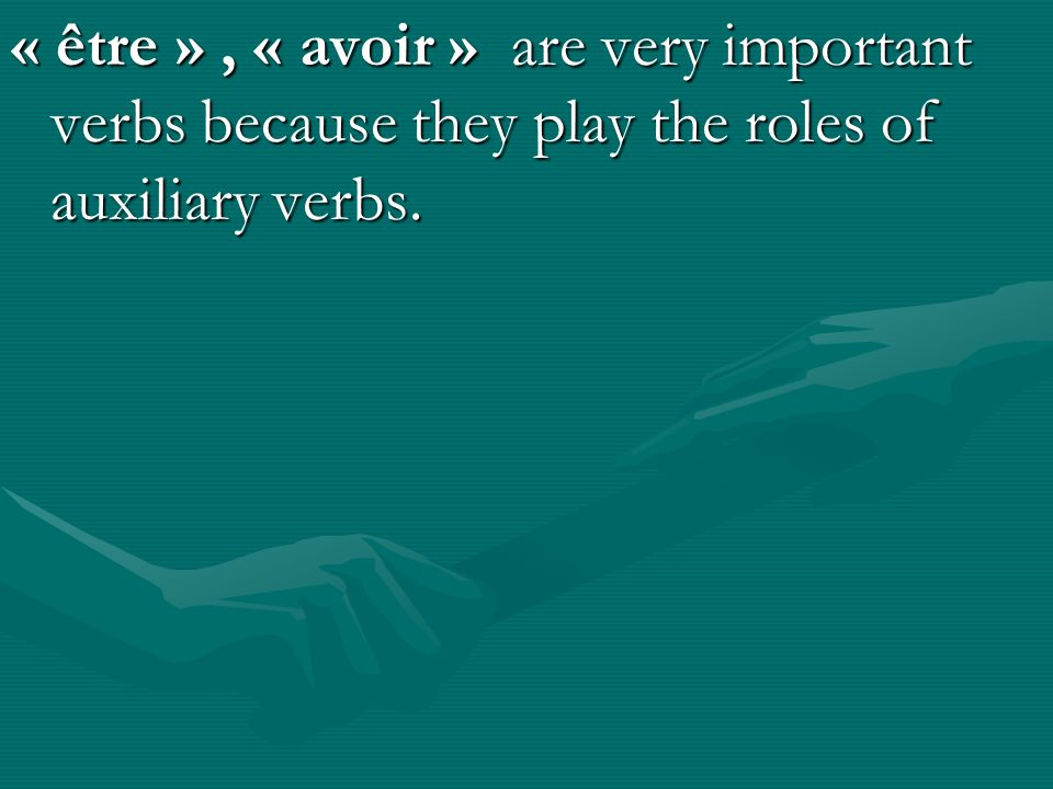 « être », « avoir » are very important verbs because they play the roles of auxiliary verbs.