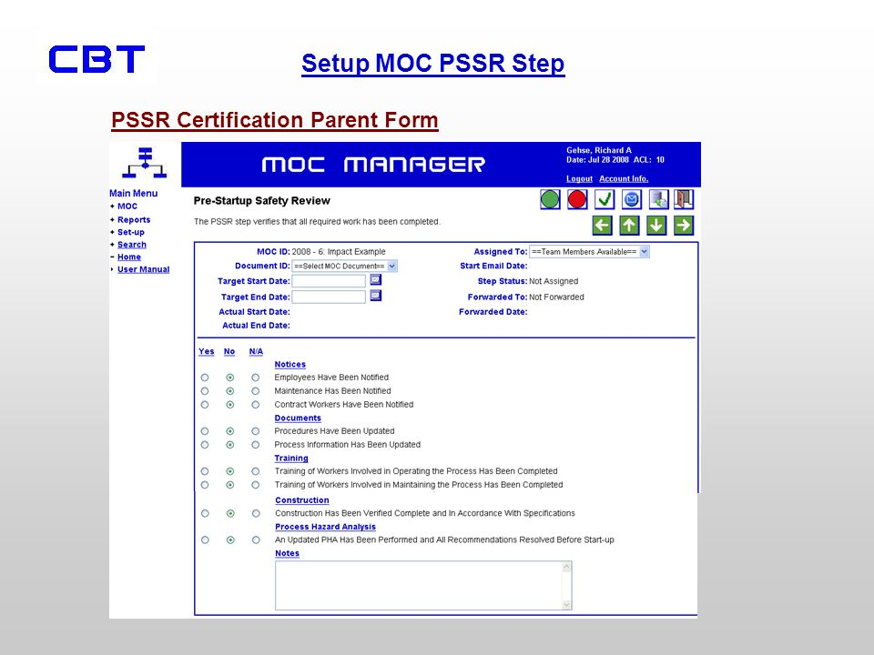 Setup MOC PSSR Step PSSR Certification Parent Form