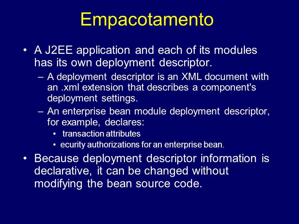 Empacotamento A J2EE application and each of its modules has its own deployment descriptor. –A deployment descriptor is an XML document with an.xml ex
