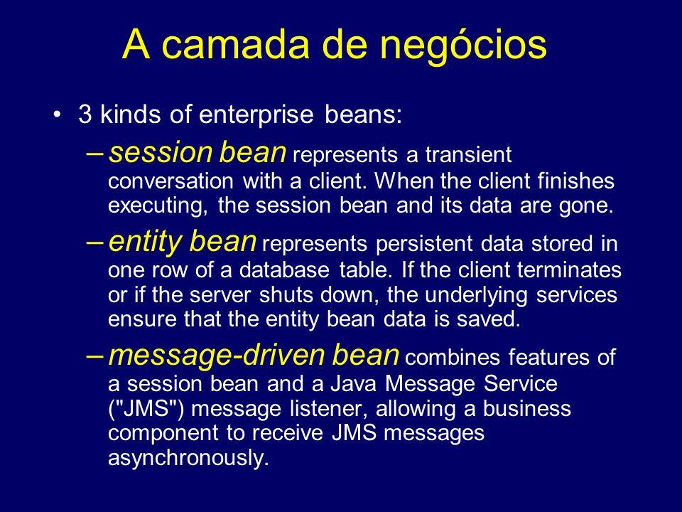 A camada de negócios 3 kinds of enterprise beans: –session bean represents a transient conversation with a client. When the client finishes executing,