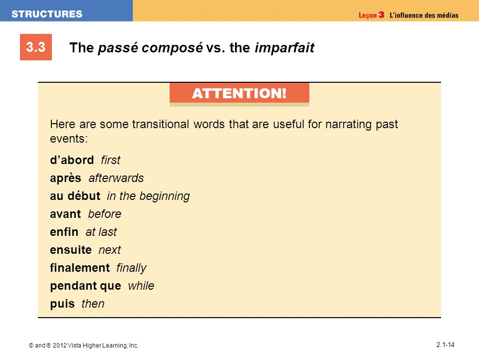3.3 © and ® 2012 Vista Higher Learning, Inc. 2.1-14 The passé composé vs. the imparfait ATTENTION! Here are some transitional words that are useful fo