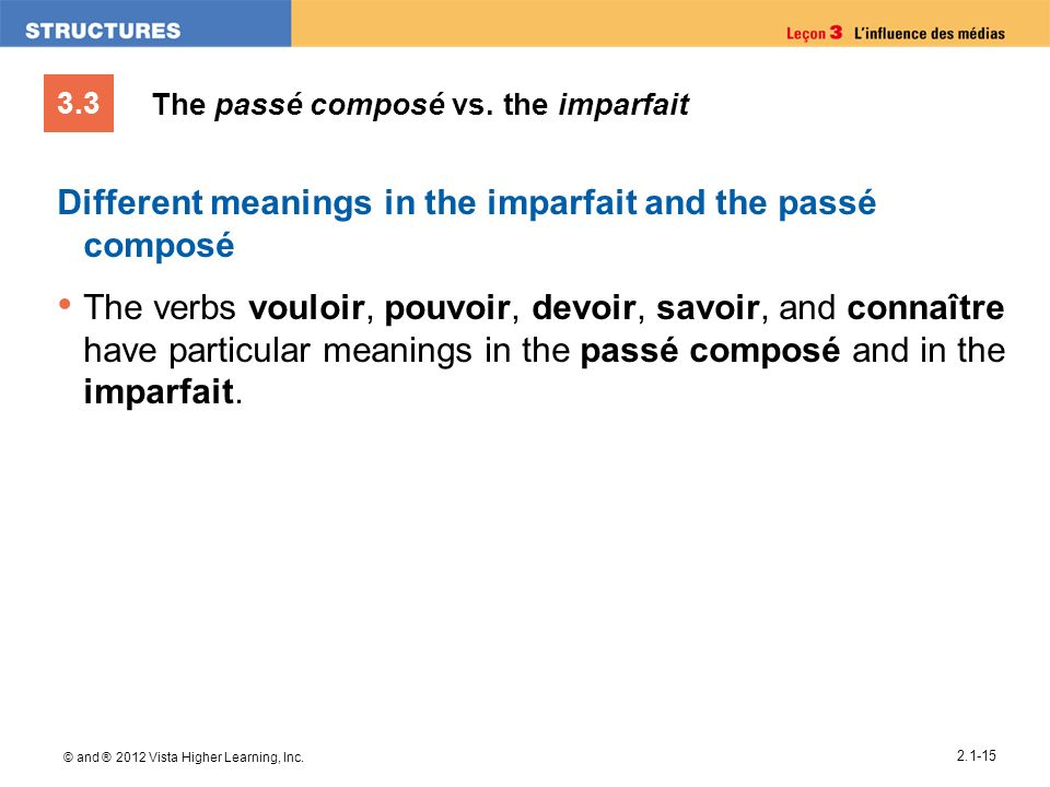 3.3 © and ® 2012 Vista Higher Learning, Inc. 2.1-15 The passé composé vs. the imparfait Different meanings in the imparfait and the passé composé The