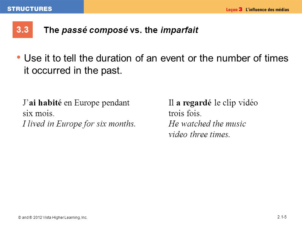3.3 © and ® 2012 Vista Higher Learning, Inc. 2.1-5 The passé composé vs. the imparfait Use it to tell the duration of an event or the number of times