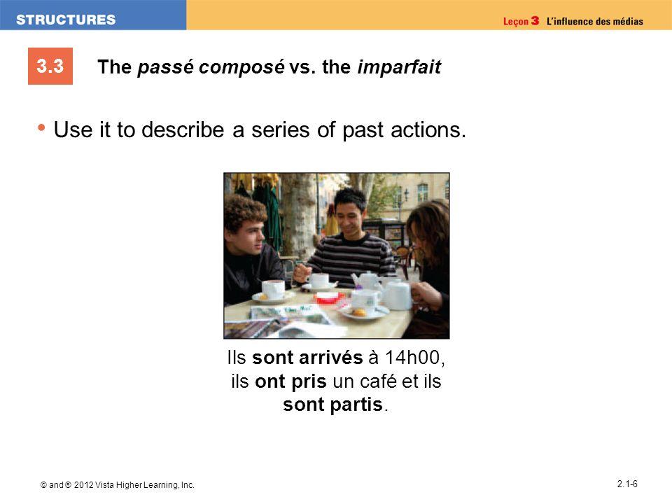 3.3 © and ® 2012 Vista Higher Learning, Inc. 2.1-6 The passé composé vs. the imparfait Use it to describe a series of past actions. Ils sont arrivés à
