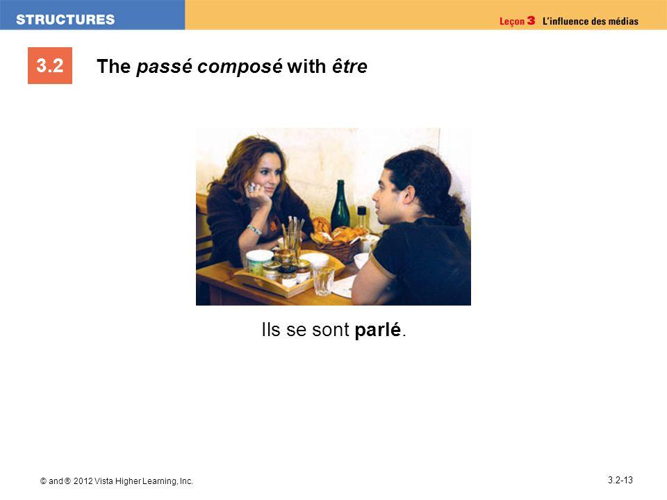 3.2 © and ® 2012 Vista Higher Learning, Inc. 3.2-13 The passé composé with être Ils se sont parlé.