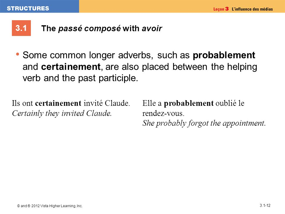 3.1 © and ® 2012 Vista Higher Learning, Inc. 3.1-12 The passé composé with avoir Some common longer adverbs, such as probablement and certainement, ar