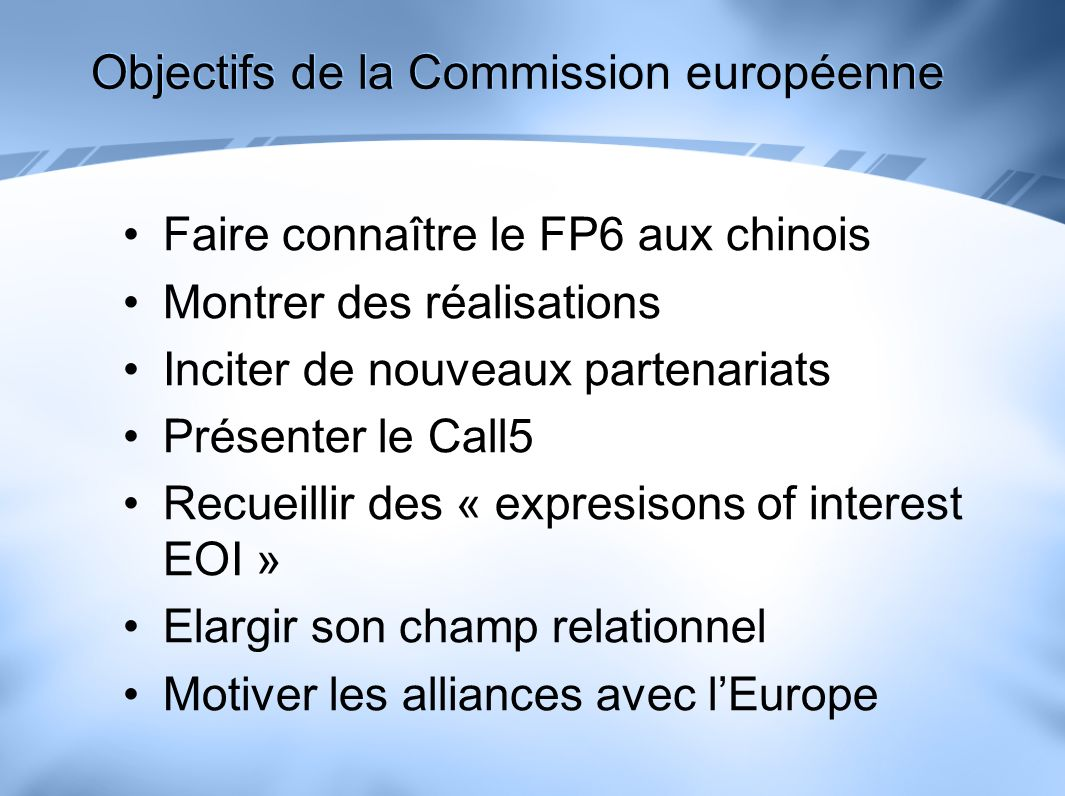 European-Chinese Scientific & Technological Collaboration Learn about possibilities for RTD Understand EU and Chinese eLogistics and eCollaboration Determine the key success factors in eLogistics and eCollaboration Identify potential partners and innovative projects Attend and...