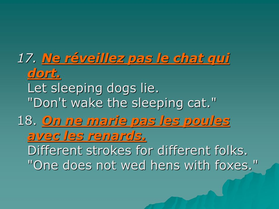 17. Ne réveillez pas le chat qui dort. Let sleeping dogs lie.