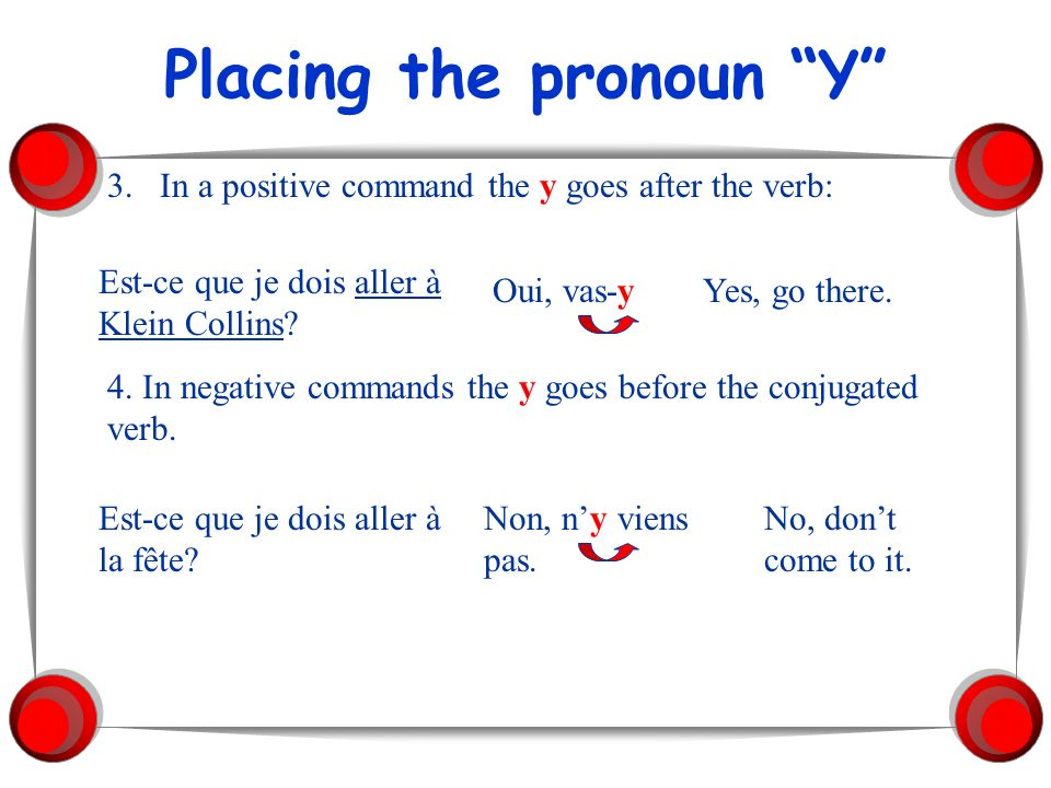 Placing the pronoun Y 3.In a positive command the y goes after the verb: Est-ce que je dois aller à Klein Collins? Oui, vas-yYes, go there. 4. In nega