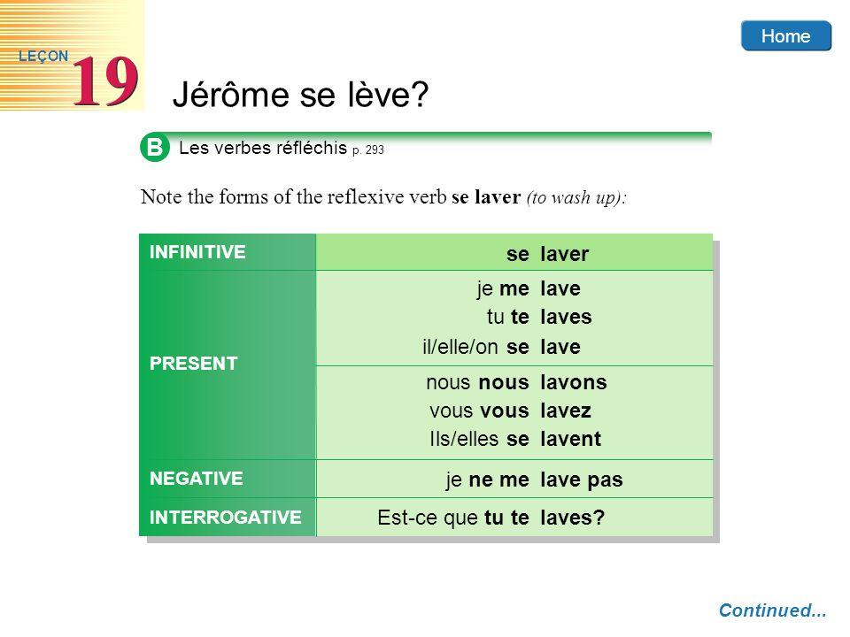 Home Jérôme se lève? 19 LEÇON B Les verbes réfléchis p. 293 Note the forms of the reflexive verb se laver (to wash up): laveje me lavestu te laveil/el