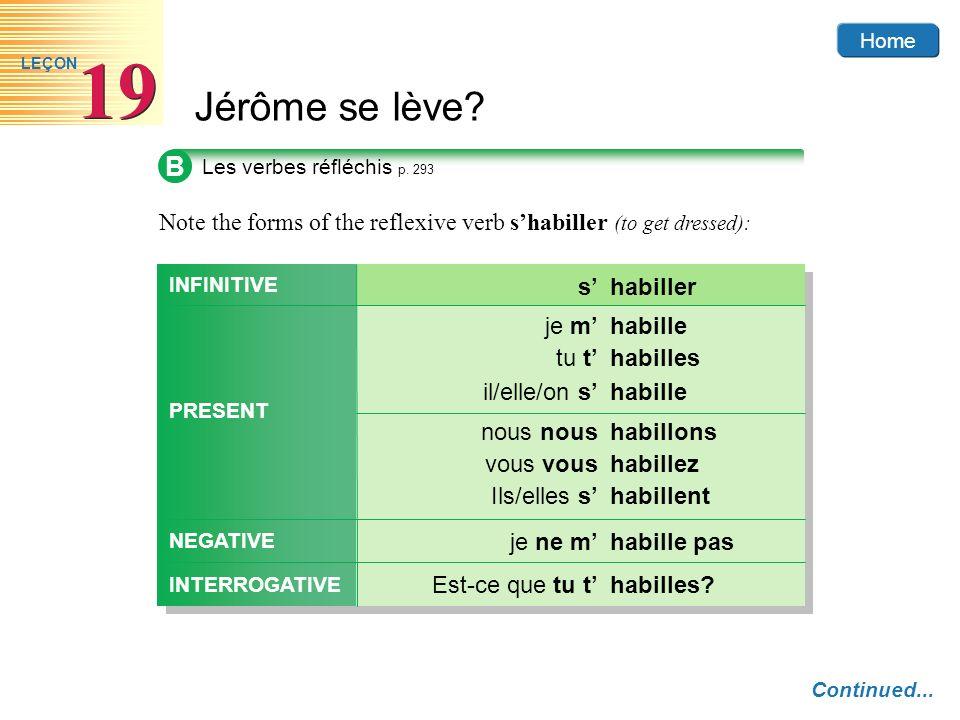 Home Jérôme se lève? 19 LEÇON B Les verbes réfléchis p. 293 Continued... Note the forms of the reflexive verb shabiller (to get dressed): habilleje m